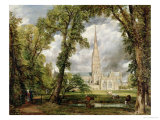 View of Salisbury Cathedral from the Bishop's Grounds, circa 1822 Lámina giclée por John Constable