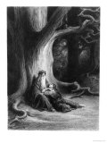 "The Enchanter Merlin and the Fairy Vivien in the Forest of Broceliande, from ""Vivien"" Giclee Print by Gustave Doré"
