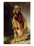 A North American Indian in an Extensive Landscape, 1842 Premium Giclee Print by William John Huggins