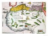 Mapa de África del Norte y Oeste África, Publicada en Strasbourg en 1522 Lámina giclée por  Ptolemy