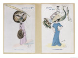 "The Eagle Owl Fur Hat"" and ""The Crane Hat,"" Cartoon Fashion Plates, 1910 Giclee Print by Xavier Sager"