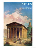 Poster Advertising Nimes, the French Rome, circa 1930 Reproduction procédé giclée par Hubert Robert