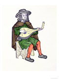 "A Troubadour Playing Lute, from the Early 13th Century Chantefable ""Aucassin Et Nicolette"", Giclee Print"