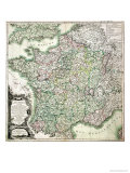 Map of France as Divided into 58 Provinces, 1765 Giclee Print by Louis-Charles Desnos