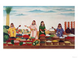 Vegetable and Spice Market at Benares, circa 1840 Premium Giclee Print by  Indian School