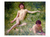 The Sunbathers Premium Giclee Print by Henry Scott Tuke