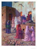 Muslims Leaving the Village Mosque on the Eve of Mouled Giclee Print by Etienne Alphonse Dinet
