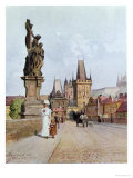 "Statue of St. Lutgardis on the Charles Bridge, Prague, Illustration from ""Stara Praha ,"" circa 1900 Giclee Print by Vaclav Jansa"
