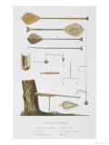 Society Islands: Pangas, Fishing Hooks and Other Tools Giclée-Druck von Antoine Chazal