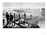 Construction of Brooklyn Bridge, New York Premium Giclee Print