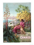 Travel Poster Advertising the Paris-Lyon-Mediterranee Train Line and Holidays in Cannes, 1904 Giclee Print by Hugo D' Alesi