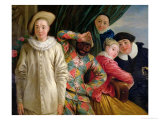 Harlequin, Pierrot and Scapin Giclee Print by Jean Antoine Watteau