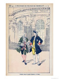 Francois Voltaire with King Frederick II of Prussia at Sanssouci Near Potsdam Giclee Print by Louis Bombled