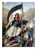 The Greek Rebellion, the Standard Bearer in Salona on Easter Day 1821 Giclee Print by Louis Dupr&#233;