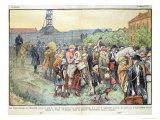 Polish Miners from L&#39;Escarpelle and Their Families Expelled from France After Communist Troubles Giclee Print by Eugene Damblans
