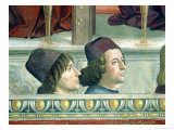 Portraits of Matteo Franco and Luigi Pulci from the Cycle of the Life of St. Francis, circa 1483 Giclée-tryk af Domenico Ghirlandaio