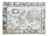 "World Map, from ""Le Theatre Du Monde"" or ""Nouvel Atlas,"" 1645 Giclee Print by Willem Janszoon Blaeu"