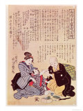Doctor Feeling a Child's Pulse with Two Hands, According to the Rules of Sino-Japanese Sphygmology Giclee Print by Yoshitoyo