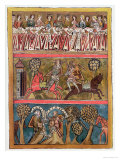 "Three Scenes from ""Parsifal"" by Wolfram Von Eschenbach Facsimile from a 13th Century Manuscript Giclee Print"