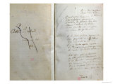 "Handwritten Pages from ""Romances Sans Paroles"" with Crossed out Dedication to Arthur Rimbaud, 1873 Premium Giclee Print by Paul Verlaine"