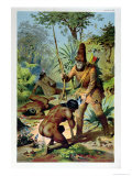 Robinson Crusoe and Man Friday, circa 1880 Giclee Print by Carl Offterdinger