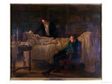 Marie Francois Xavier Bichat Dying Surrounded by the Doctors Esparon and Philibert Joseph Roux Giclee Print by Louis Hersent