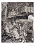 Breaking Bulk on Board a Tea Ship in the London Docks Giclee Print by William Bazett Murray