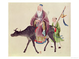 Lao-Tzu on His Buffalo, Followed by a Disciple Giclee Print