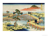 Eight Part Bridge, Province of Mucawa, Japan, circa 1830 Premium Giclee Print by Katsushika Hokusai
