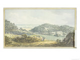 "Panoramic ""After"" View, from the Red Book for Antony House, circa 1812 Giclée-Druck von Humphry Repton"