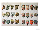 Human and Animal Carnival Masks, Page from a Manufacturer's Catalogue from Mannebach, Thuringe, Giclee Print