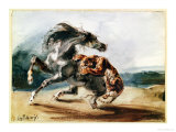 Tiger Attacking a Wild Horse Giclee Print by Eugene Delacroix