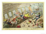 An Interesting Scene on Board an East-Indiaman, Showing the Effects of a Heavy Lunch Giclee Print by George Cruikshank