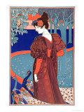 "Woman with Peacocks, from ""L'Estampe Moderne,"" Published Paris 1897-99 Giclee Print by Louis John Rhead"