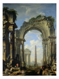 Landscape with Ruins Giclee Print by Giovanni Niccolo Servandoni