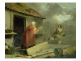 Old Woman Waving a Stick at a Boy, 1793 Giclee Print by George Morland