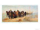 Convicts Pulling a Boat Along the Volga River, Russia, 1873 Giclée-Druck von Ilya Efimovich Repin