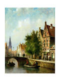 Figures on a Canal, Amsterdam Giclee Print by Johannes Franciscus Spohler