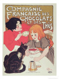 Poster Advertising the Compagnie Francaise Des Chocolats Et Des Thes, circa 1898 Giclee Print by Th&#233;ophile Alexandre Steinlen