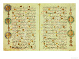 Seljuk Style Koran with Illuminated Sunburst Marks and Small Trees in the Margin Giclee Print