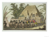 Captain Cook Observes an Offering Sandwich Islands Giclee Print by C. Bottigella