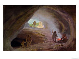 Cavemen During the Ice Age, after a Sketch by Professor Klaatsch, Late 19th Century Premium Giclee Print by W. Kranz