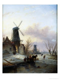 Skaters on a Frozen River Giclee Print by Jacob Jan Coenraad Spohler