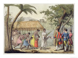 Captain Samuel Wallis Being Received by Queen Oberea on the Island of Tahiti Giclee Print by Gallo Gallina