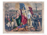 Allegory of the French Republic Depicting Adolphe Thiers, Leon Gambetta and Victor Hugo Giclee Print