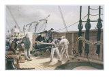 Splicing the Cable after the First Accident on Board the Great Eastern, July 25th, 1865 Giclee Print by Robert Dudley