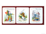 Three Happy Family Cards Depicting Characters from Alice in Wonderland by Lewis Carroll (1832-98) Giclee Print by John Tenniel