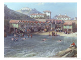 The Beginning of Sea Swimming in the Old Port of Biarritz, 1858 (Detail) Giclee Print by Jean Jacques Alban De Lesgallery