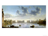 Old London Bridge Giclee Print by Claude de Jongh