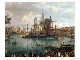 The Port of Brest with a View of Shipping, 1794 (Detail) Premium Giclee Print by Jean-Francois Hue
